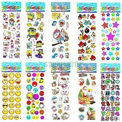 10Pcs Sheets Mixed Cartoon Pattern Teacher Reward Wall Desk Stickers Scrapbook