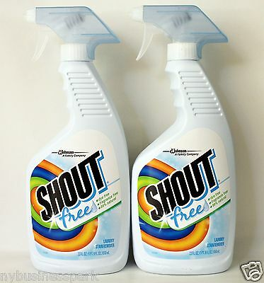2 Shout Free Laundry Stain Remover Dye Free Fragrance free 99% Natural 22oz each