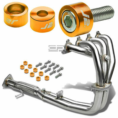 J2 FOR CB F22A STAINLESS EXHAUST MANIFOLD FLEX HEADER+GOLD WASHER CUP BOLTS