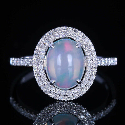 10K Solid White Gold Estate Natural Australian Opal and Diamond Engagement Ring