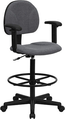 Flash Furniture Gray Fabric Ergonomic Drafting Chair with Height Adjustable...