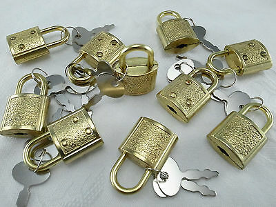 (Lot of 10 pcs) Mini Padlock BRASS COLOR Small Tiny Box Lock with Keys