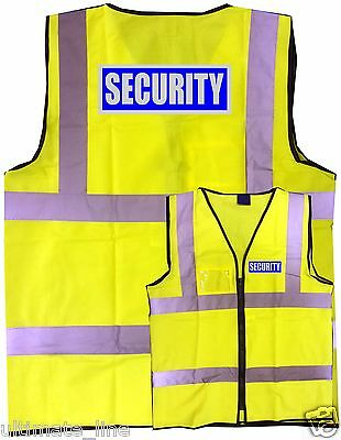 SECURITY Hi-vis SAFETY VEST WAISTCOAT ZIPPED & ID S - 6XL front&back EN471