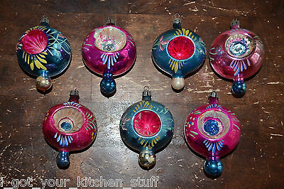 Vintage Christmas Tree Mercury Glass Double Indent Painted Ornaments Lot of 7