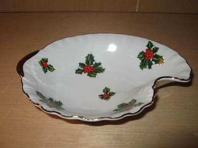 Vintage Lefton China Christmas Holly  Dish Bowl Hand Painted #7940 Gold Trim