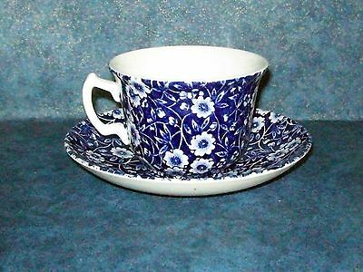 Vintage Cup and Saucer Victorian Blue Chintz Burleigh Staffordshire