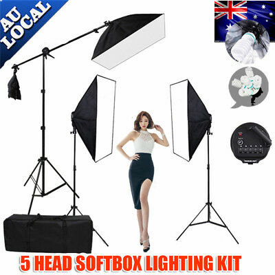 Studio Continuous Lighting Softbox Boom Photo 5 Head Soft Box Light Stand KiT