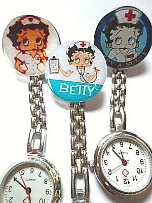 BETTY BOOP Vet Watch Nurse Watch Stainless Steel Quartz Fob Pocket Watch Clip On