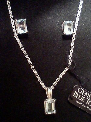New genuine blue topaz and sterling silver necklace,stud earrings jewelry set