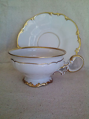 Vintage Hutschenreuther Brighton White China Coffee Cups Saucers- Set of 8