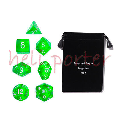 TRPG games Dungeons & Dragons RPG Dice set of  7 Translucent Green with bag