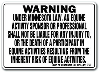MINNESOTA Equine Sign activity liability warning statute horse farm barn stable
