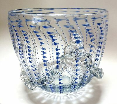 Large Art Glass Decorative Bowl Applied Ribbon Handle Design Clear Blue Unique