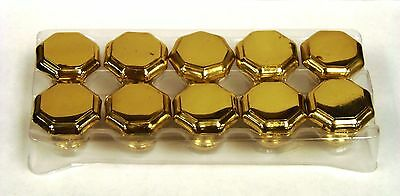"Octagonal SOLID BRASS Drawer/Cabinet Knobs 1.36"" dia x 1-1/8"" long, SET OF 10"
