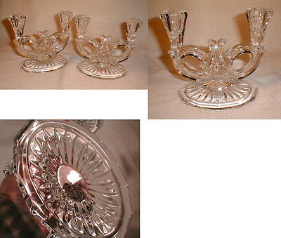 VG 2 Old Heavy Glass Crystal Dual Ornate Candle Holders Free Shipping