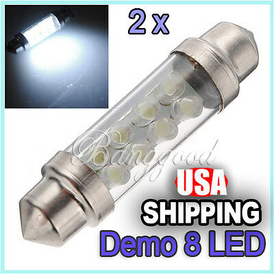 2X 42mm 8 LED Pure White Car Interior Dome Festoon Light Lamp Bulb DE440 12V DC