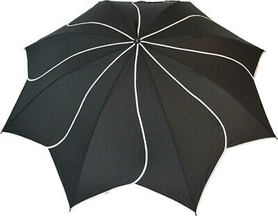 Blooming Brollies Swirl Auto Stick Umbrella - Black