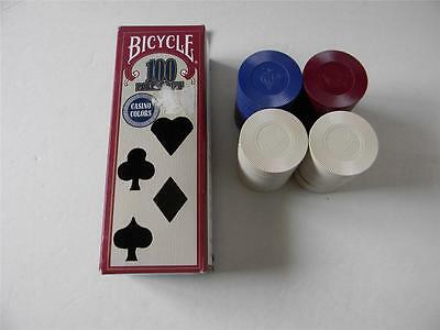 100 Bicycle Plastic Interlocking Casino Poker Chips Red Blue White Hold EM 1-1/2