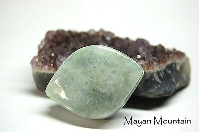 THICK GUATEMALAN JADEITE CABS NOTCHED EDGE FOR WIRE WRAPPING CAB- 325 cabochon