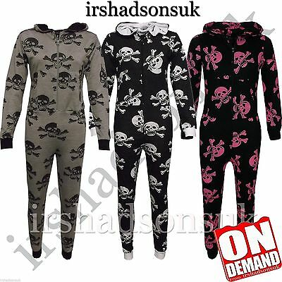 NEW KIDS GIRLS BOYS SKULL CROSS BONE HALLOWEEN ALL IN ONE JUMPSUIT 7-13Yr