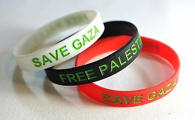 Lot of (3) Flexible Silicone Bracelets FREE Palestine Flag Colors Wristbands-BRW