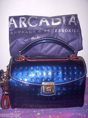 NWT Arcadia of Italy Ocean Blue Patent Leather Doctor's Satchel Shoulder Bag