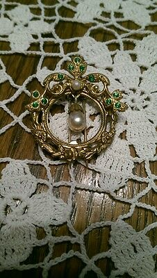 Vintage Dress Clip with green rhinestones and pearls