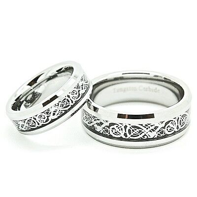 Matching 6mm & 8mm Polished Tungsten Carbide Celtic Dragon Inlay Wedding Rings