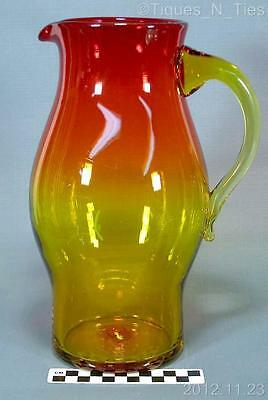 Large Vintage Amberina Glass Ruby to Amber Pitcher Hand Blown  Blenko? (FF)