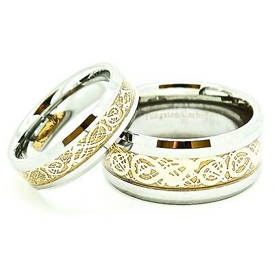 Matching 6mm & 10mm 18K Gold Plated Tungsten Celtic Dragon Inlay Wedding Bands