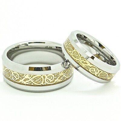 Matching 7mm & 9mm 18K Gold Plated Tungsten Celtic Dragon Inlay Wedding Bands