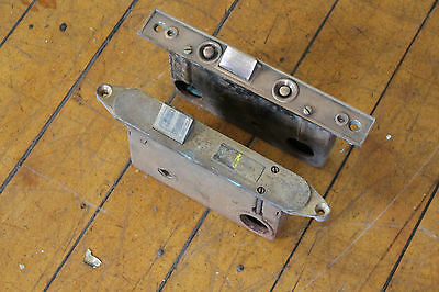 2 Antique Brass Mortise Locks 7022