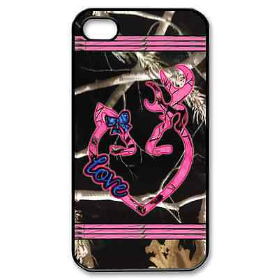 """New Item iPhone 4/4s Case """"BLACK CAMO REALTREE LOGO BROWNING PINK LOVE CUTE"""""""