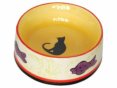 Ceramic Cat Bowl Feeding Drinking Bowls Lucky Black Cat 13cm x 5cm