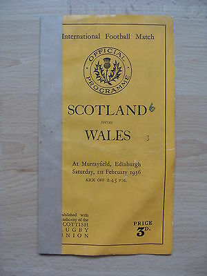 Scotland v Wales 1936 Rugby Programme