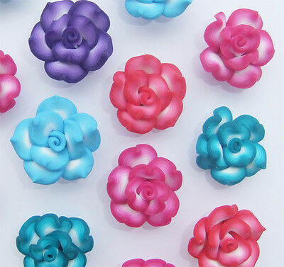 10 x Mixed Colour Flower Shaped Polymer Clay Beads - 25-26mm