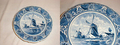 delft blauw footed wall plate bowl 1037 handpainted signed windmill holland