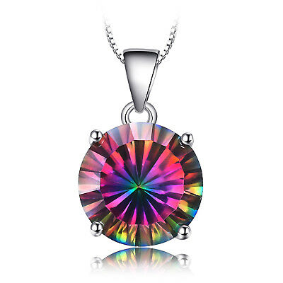 JewelryPalace 4ct Genuine Fire Rainbow Coated Quartz Pendant 925 Sterling Silver