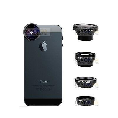 4in1 Fish Eye+Wide Angle Micro Telephoto Lens Magnetic for iPhone 6 5s PLUS-Bk
