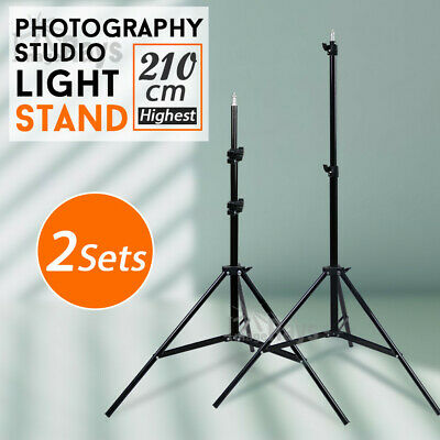 Photo Studio 2x 210cm Tall Light Stand Tripod for Video Lighting Flash Umb Stand