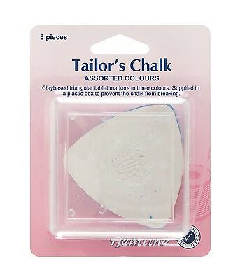 HEMLINE Haberdashery TAILOR'S CHALK (3 x Assorted Colour Triangle Chalks) - H250