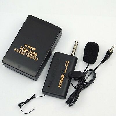 Wireless FM Transmitter Receiver Kit Hands Free Tie Clip Microphone Mic System