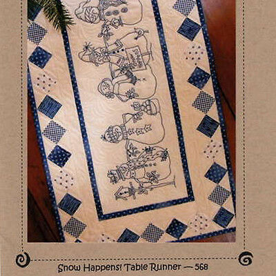 SNOW HAPPENS TABLE RUNNER Quilt & Hand Embroidery Pattern Bluework Snowman Man