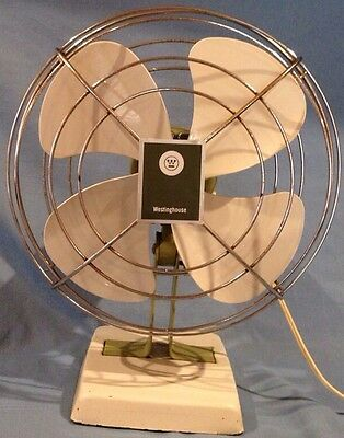 Vintage 1950's - 1960's Westinghouse Oscillating Metal Desk Fan Cat No. AT 10-1