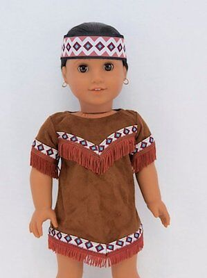 """Doll Clothes 18"""" Dress Suede Native American Fits American Girl Dolls"""