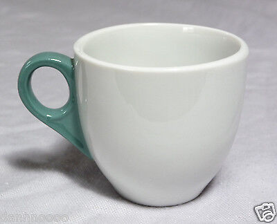 1964 SHENANGO CHINA Demitasse AFTER DINNER CUP White Teal Green ART DECO HANDLE