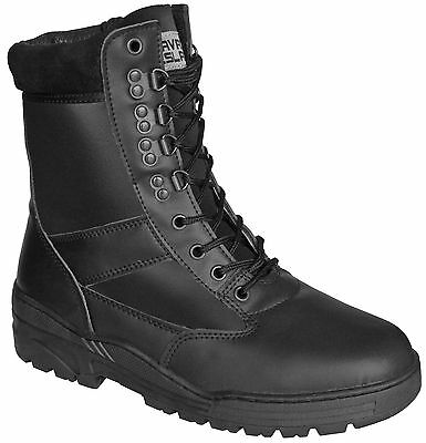 Black ALL LEATHER Army Combat Patrol Boots Tactical Cadet Military Security 903