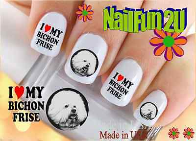 Nail Art #112 DOG BREED Bichon Frise I Love WaterSlide Nail Decals Transfers