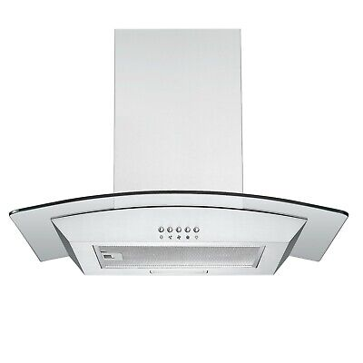 Cookology CGL600SS Curved Glass Cooker Hood | 60cm Stainless Steel Extractor Fan