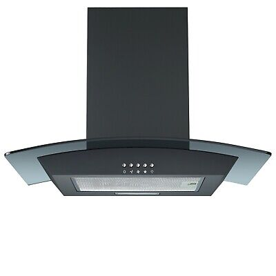 Cookology CGL600BK Extractor Fan | Black 60cm Curved Glass Chimney Cooker Hood